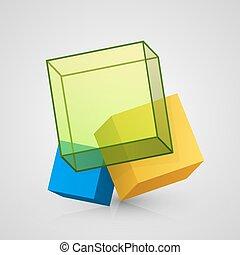 vettore, cubo, disegno, 3d