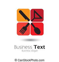 vettore, cucchiaio, coltello, forchetta, &, colorito, glass-, icone, grafico