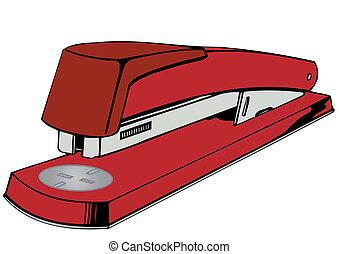 vettore, cucitrice, illustrazione, rosso