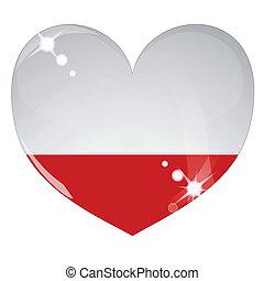 vettore, cuore, con, bandiera polonia, struttura