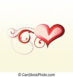 vettore, cuore, con, floreale