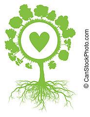 vettore, cuore, concetto, manifesto, globo, albero, ecologia, fondo, mondo, radici