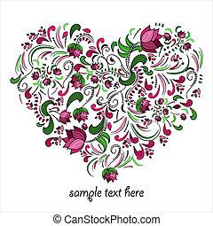 vettore, cuore, luminoso, fatto, fiori