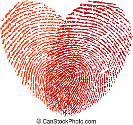 vettore, cuore rosso, impronta digitale