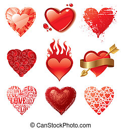 vettore, cuori, differente, set, valentines