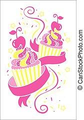 vettore, cupcakes, colorito, isolato, icons.