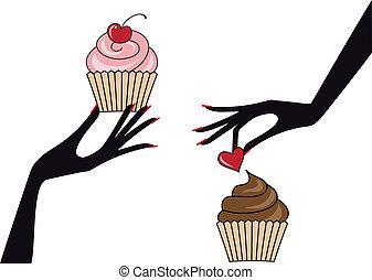 vettore, cupcakes, mani