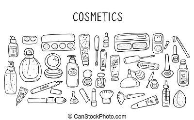 vettore, cura, bellezza, mano, differente, su, simboli, accessoires, collezione, pelle, visage., icona, set., femmina, fare, disegnato, prodotti, illustrazione