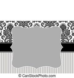 vettore, damasco, striscia, cornice