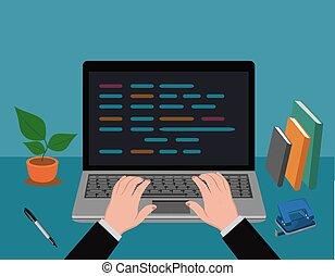 vettore, dattilografia, laptop, illustrazione, mani