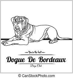 vettore, de, dogue, illustrazione, -, tesserati magnetici, logotipo, t-shirt, bordeaux, sagoma