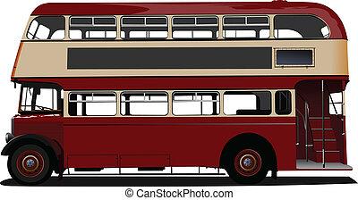 vettore, decker, doppio, rosso, malato, bus.
