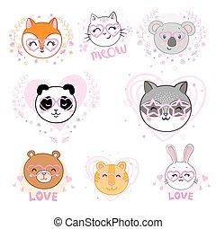 vettore, decorativo, animali, elements., illustrazione, set, carino, faccia, occhiali, divertente