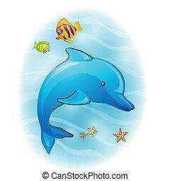 vettore, delfino, cartone animato