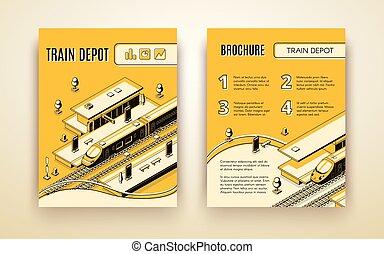 vettore, deposito, treno, sagoma, opuscolo, ferrovia