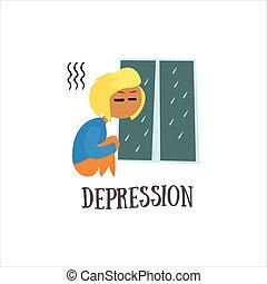 vettore, depressione, illustrazione