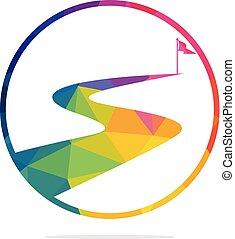 vettore, design., successo, modo, logotipo