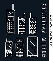 vettore, design., telefono, -, mobile, evoluzione, linea, illustrazione, smartphone