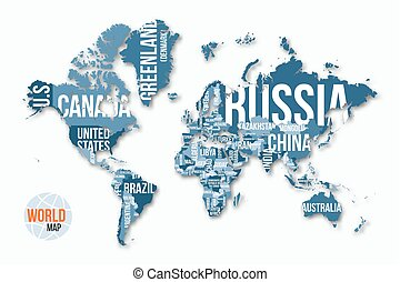 vettore, dettagliato, mappa mondo