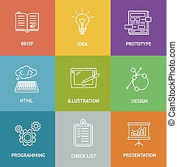 vettore, dewelopment, icona, web, colorito, set.