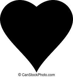 vettore, di, cuore nero, icona, illustrazione, isolato, bianco, fondo.