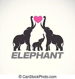 vettore, di, famiglia, elefanti, e, rosa, cuore, bianco,...