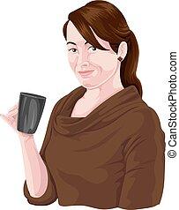 vettore, di, holding donna, caffè, mug.