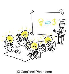 vettore, di, riunione affari, e, brainstorming,...