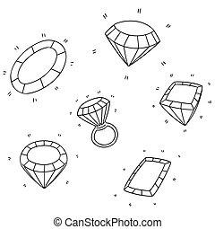 vettore, diamante, set