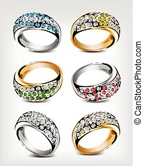 vettore, diamonds., set, anelli, matrimonio