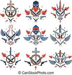 vettore, differente, elementi, emblema, revolutionary., o, stretto, caos, armi, pistole, cranio, disegno, ribelle, logotipo, aggressivo, forte, pallottole, anarchia, tatuaggio, pugno