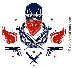 vettore, differente, elementi, emblema, revolutionary., vendemmia, o, caos, armi, gangster, cranio, disegno, ribelle, scull, logotipo, aggressivo, criminale, anarchia, tatuaggio, cattivo