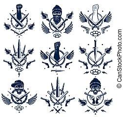 vettore, differente, rivoluzione, emblema, tumulto, cranio, revolutionary., stretto, armi, pistole, elementi, disegno, ribelle, logotipo, aggressivo, forte, pallottole, o, tatuaggio, pugno