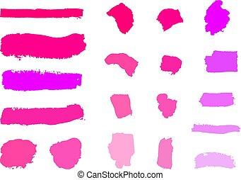 vettore, differente, set, colpi, fare, campioni, cosmetico, su, fondo., toni, vuoto, bianco