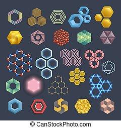 vettore, differente, set, elements., icone, hexa, astratto,...
