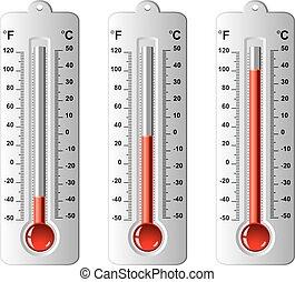 vettore, differente, set, termometri, livelli