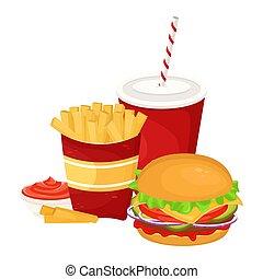 vettore, digiuno, illustrazione, frigge, rifiuto, cibo., hamburger, soda, cup., salsa, francese, cartone