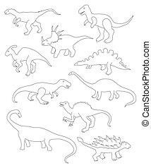 vettore, dinosauri, differente, set, cartone animato