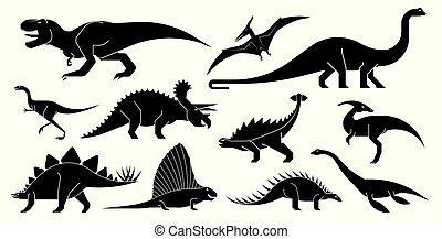 vettore, dinosauro, icons., set, stilizzato, geometricamente