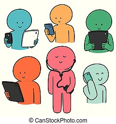 vettore, dipendenza, smartphone, set