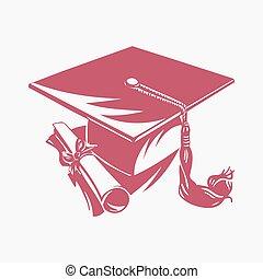 vettore, diploma, berretto, graduazione