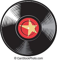 vettore, disco, (record), vinile
