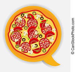 vettore, discorso, pizza, illustrazione, bubble.