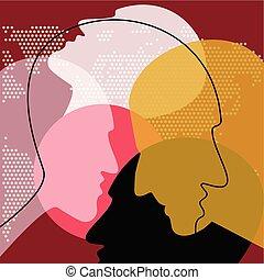 vettore, discussion., ilustration., persone