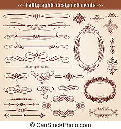 vettore, disegni elementi, calligraphic