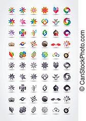 vettore, disegni elementi, icona, set