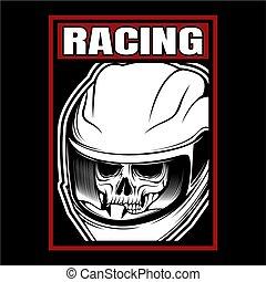 vettore, disegno, cranio, mano, da corsa, casco