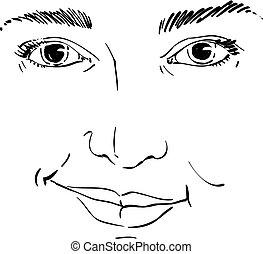 vettore, disegno, di, diffidente, donna, faccia, features.,...