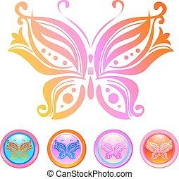 vettore, disegno, di, farfalla