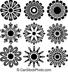 vettore, disegno, fiore, elementi